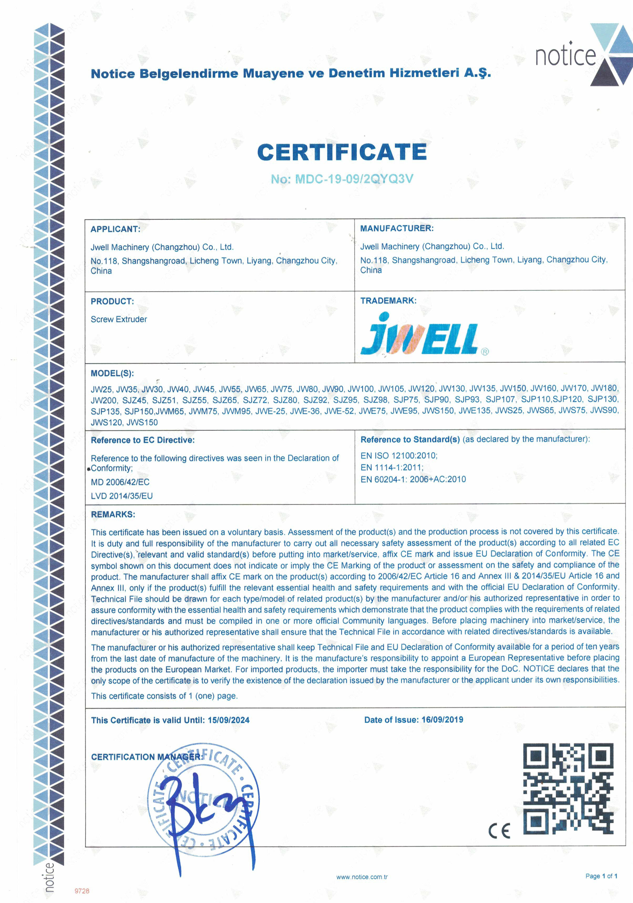 China Jwell Machinery (Changzhou) Co.,ltd. Certification